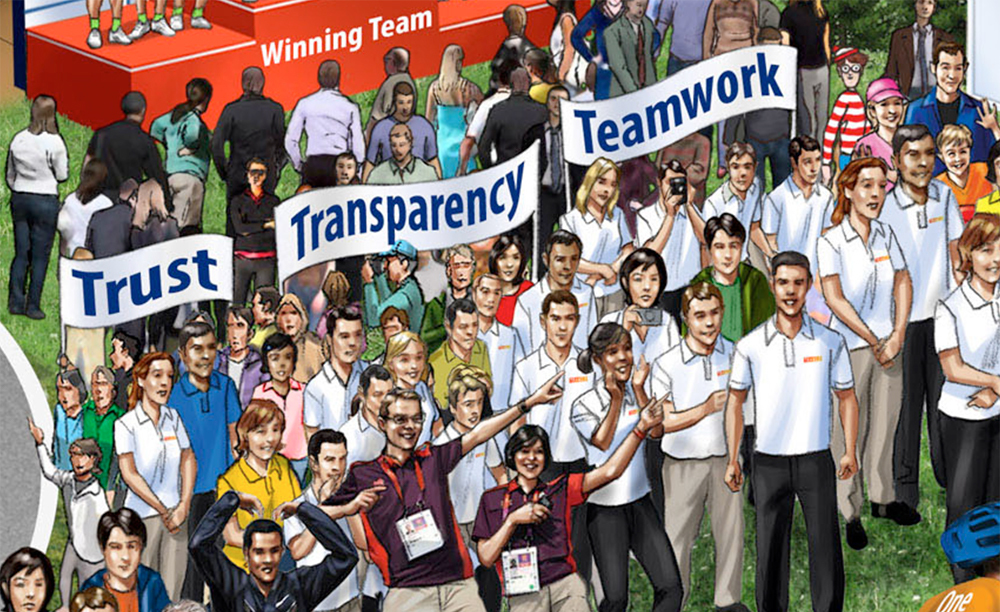 Trust Transparency Teamwork, illustration of people holding signs