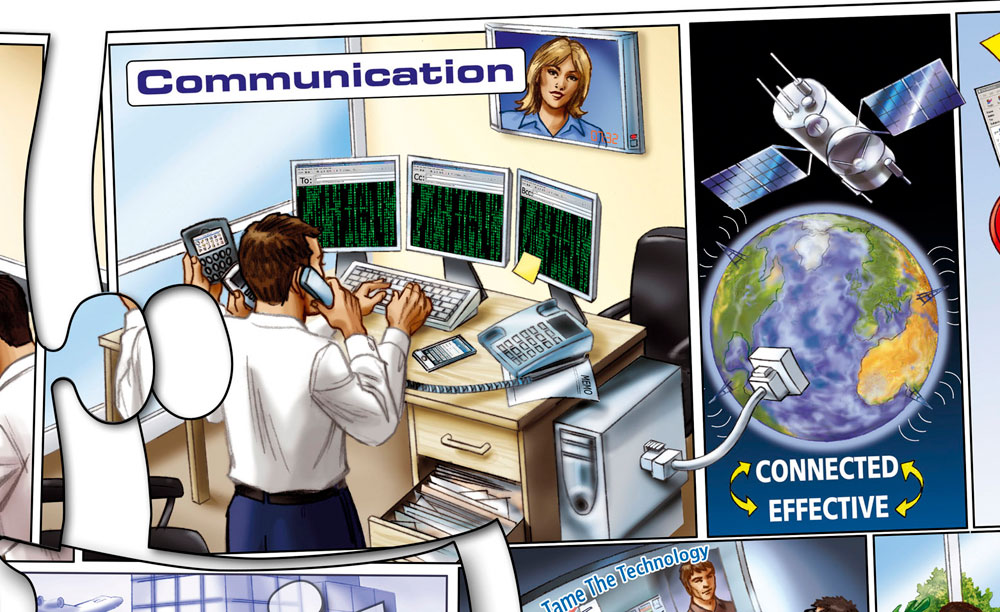 Illustration of man with many computers and phones. Text overlay: Communication Connected = Effective