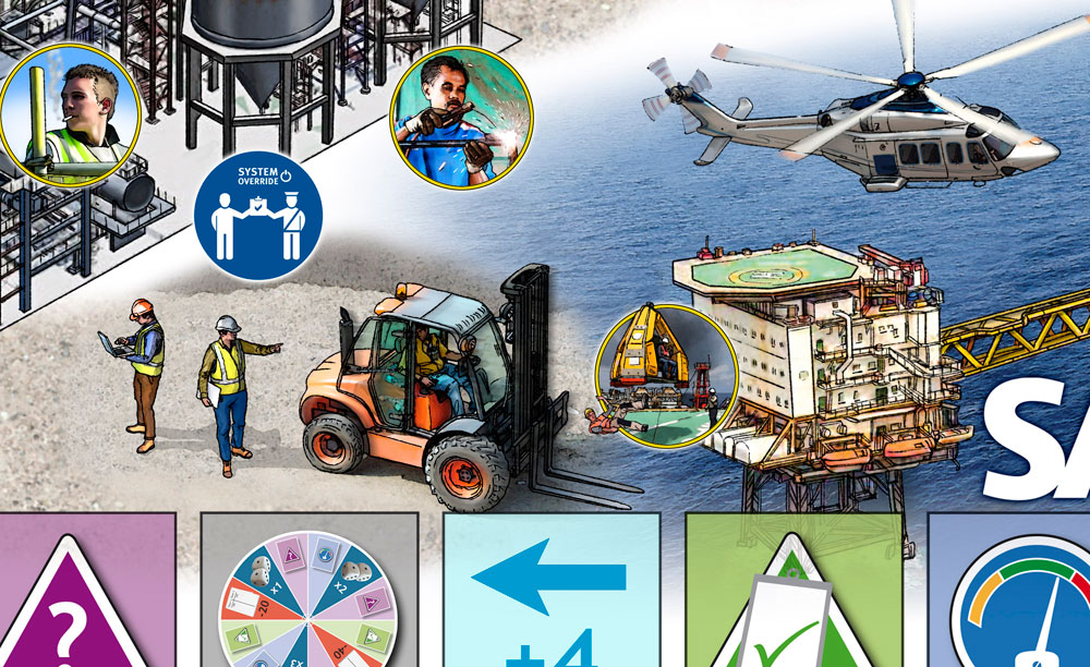 The Safety Game for Medina illustration of oil rig and forklift at work