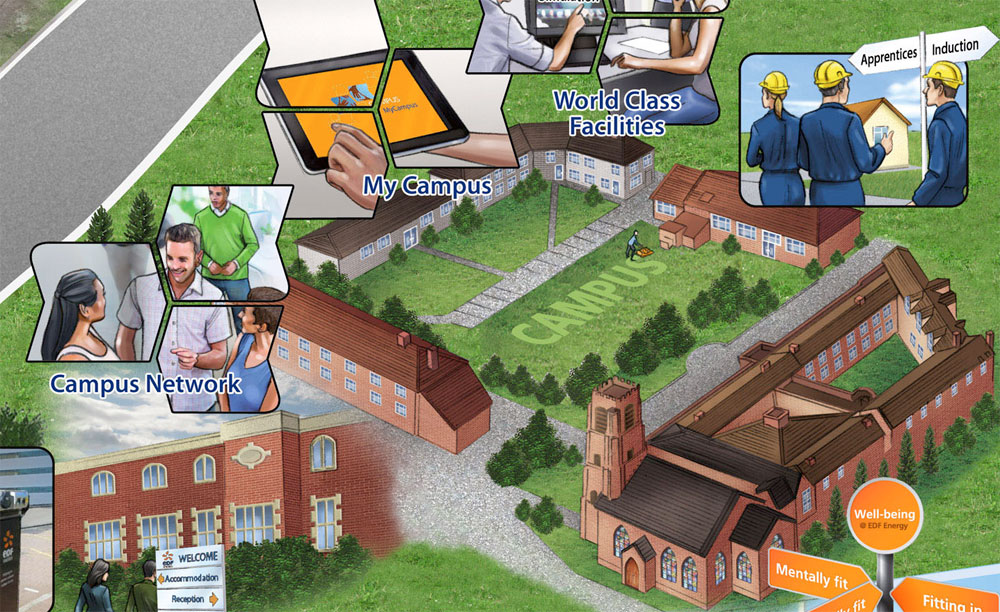 Do we need to re-learn to socialise? Illustration of jigsaw pieces being put together on a campus